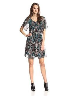 Ella moss Women's Flora Vista Silk Flutter Sleeve Dress