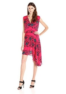 Ella moss Women's Hazeline Printed Asymetrical Hem Dress, Raspberry, Medium