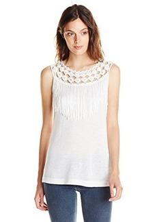 Ella moss Women's Hermosa Fringe Tank Top, White, X-Small