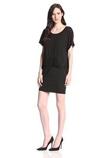 Ella moss Women's Jesse Fringed Jersey Shift Dress, Black, X-Small