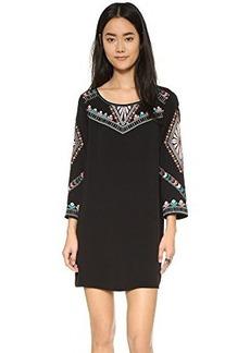 Ella moss Women's Joss Embroidered Detail Long Sleeve Swing Dress, Black/Multi, Large