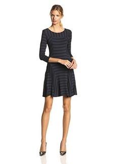 Ella moss Women's Liberty Striped Jersey 3/4 Sleeve Dress, Ink, Large
