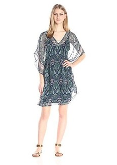 Ella moss Women's Lorelei Printed Silk Caftan Dress, Black, Large