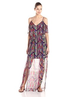 Ella moss Women's Mazatlan Silk Print Cold Shoulder Maxi Dress, Rojo, Medium