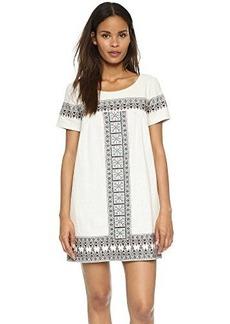 Ella moss Women's Medina Short Sleeve Embroidered Detail Shift Dress, Cream, Large