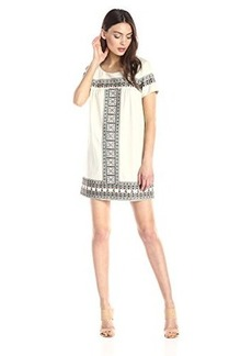 Ella moss Women's Medina Short Sleeve Embroidered Detail Shift Dress, Cream, Medium