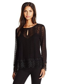 Ella moss Women's Pixie Embroidered Detail Long Sleeve Blouse, Black, Small