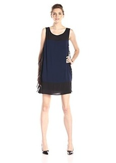 Ella moss Women's Rania Sleeveless Fringe Side Shift Dress, Dusk, X-Small