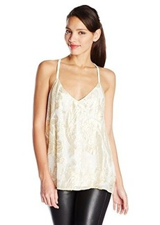Ella moss Women's Reina Metallic Silk Cami Tank Top, Natural, Small