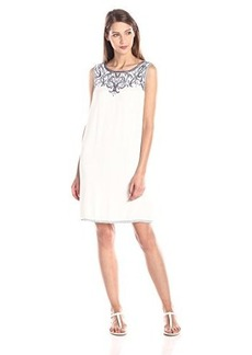 Ella moss Women's Rica Embroidery Detail Dress, White, Medium
