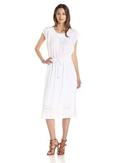 Ella moss Women's Rose Embroidered Guaze Flutter Sleeve Dress, White, Medium