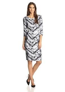 Ella moss Women's Serpentine Printed Jersey Dress, Ink, Medium