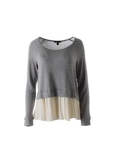 Ella moss Women's Stella Crepe and Jersey Overlay Top, Heather Grey/Cream, X-Small