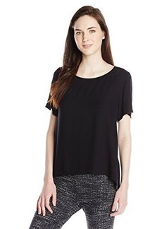 Ella moss Women's Stella Crepe Flutter Sleeve Top, Black, Medium