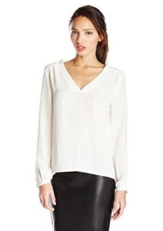Ella moss Women's Stella Crepe Pleated Back Long Sleeve Blouse, Natural, X-Small