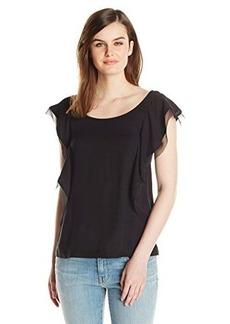 Ella moss Women's Stella Flutter Sleeve Top, Black, Large