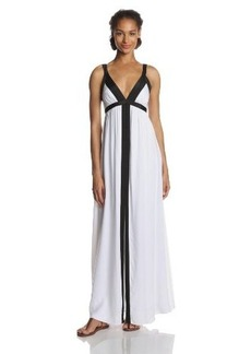 Ella Moss Women's Stella Jersey Colorblock Maxi Dress, White, Medium