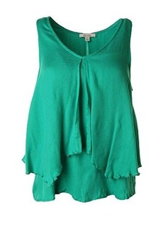 Ella Moss Women's Stella Jersey Ruffled Sleeveless Top, Grass, Small