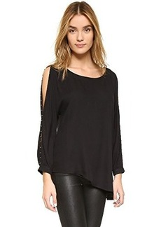 Ella moss Women's Stella Sleeve Detail Tunic Blouse, Black, Small