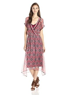 Ella moss Women's Tangier Printed Silk Chiffon Handkerchief Hem Dress, Tangelo, Small