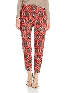 Ella moss Women's Tangier Printed Silk Chiffon Pant, Tangelo, Medium