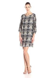 Ella moss Women's Tierra Print Shift Dress, Black, Large