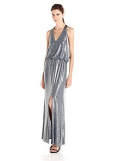 Ella moss Women's Twilight Mettalic Maxi Dress, Silver, Large