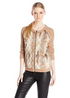 Ella moss Women's Vannah Fur Front Knit Jacket