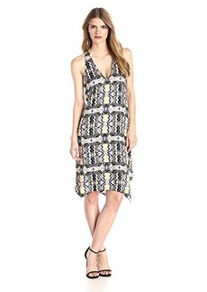 Ella moss Women's Veracruz Print Handerkerchief Hem Dress, Black, X-Small