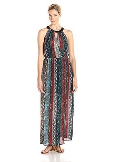 Ella moss Women's Wonderlust Printed Halter Maxi Dress, Night, Large