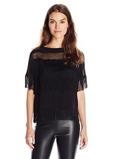 Ella moss Women's Zena Fringe Short Sleeve Blouse, Black, Large
