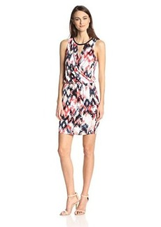 Ella moss Women's Zia Ikat Print Jersey Dress with Faux Leather Trim, Rosette, Large