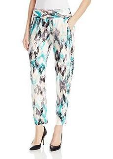 Ella moss Women's Zia Ikat Print Jersey Relaxed Pant, Turquoise, Small