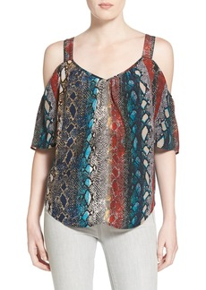 Ella Moss 'Wonderlust' Snakeskin Print Cold Shoulder Top