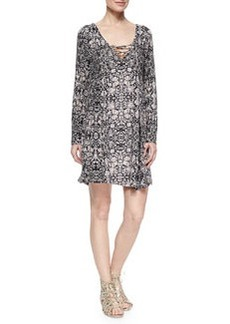 Ella Moss Yvette Lace-Up Printed Dress