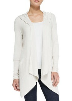 Hooded Drape-Front Thermal Cardigan, Swan   Hooded Drape-Front Thermal Cardigan, Swan