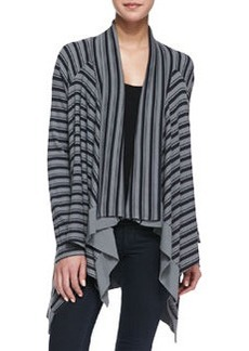 Striped Cascading Thermal Cardigan, Asphalt   Striped Cascading Thermal Cardigan, Asphalt