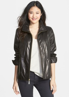 Ellen Tracy A-Line Lambskin Leather Jacket (Regular & Petite)