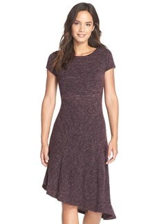 Ellen Tracy Asymmetrical HeatheredKnit Dress
