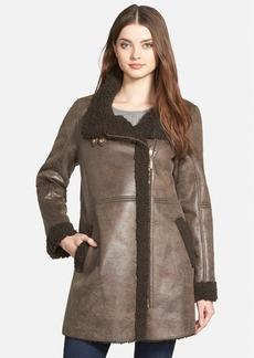Ellen Tracy Asymmetrical Zip Faux Shearling Coat (Regular & Petite)