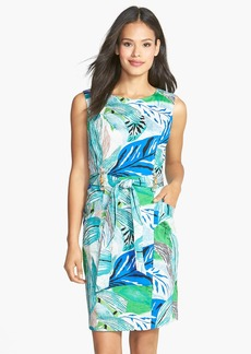 Ellen Tracy Bamboo Detail Belted Sheath Dress
