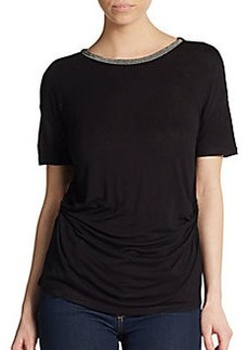 Ellen Tracy Beaded Bateau Neck Ruched Top