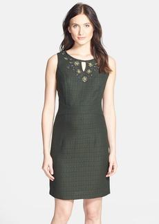 Ellen Tracy Beaded Bouclé Sheath Dress