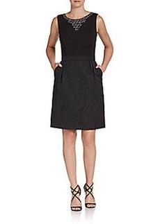 Ellen Tracy Beaded Jacquard Sheath Dress
