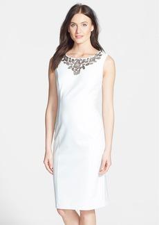 Ellen Tracy Beaded Ponte Sheath Dress
