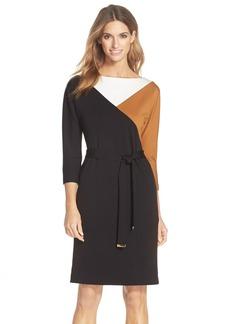 Ellen Tracy Belted Colorblock A-Line Dress
