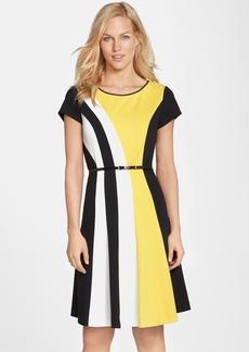 Ellen Tracy Belted Colorblock Ponte Fit & Flare Dress (Regular & Petite)