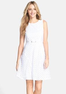 Ellen Tracy Belted Cotton Eyelet Fit & Flare Dress