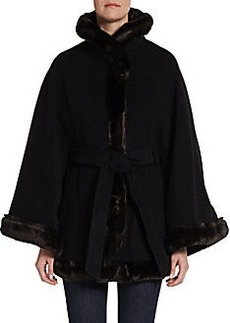 Ellen Tracy Belted Faux-Fur Trimmed Cape Coat