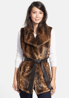 Ellen Tracy Belted Faux Fur Vest (Online Only)